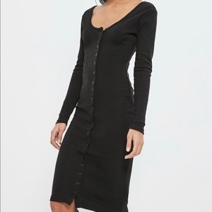 NWT Missguided Black Ribbed Midi Dress. Size 12